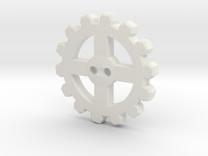 Cogwheel Button 01 in White Strong & Flexible