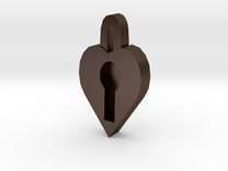 lock heart pendant more printable in Polished Bronze Steel