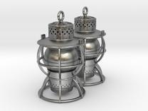 Dressel Lamp Earrings or charms in Raw Silver