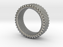 Pebble Ring - Checkered Pattern 0 (19mm) in Raw Silver