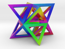 Vibrant Stellated Octahedron Frame in Full Color Sandstone