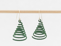 Spiral Earrings in Green Strong & Flexible Polished