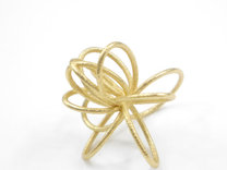 Flora Ring B (Size 7) in Polished Gold Steel