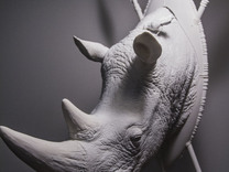 Part 1 of 3 White Rhino (Headpiece) in White Strong & Flexible: d00
