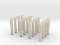 00 scale Underground station Roof Support Columns  in White Acrylic
