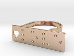 Adjustable ring. Love in Braille. in 14k Rose Gold