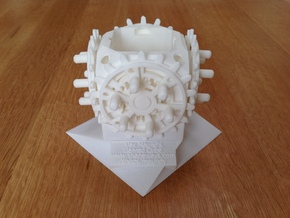 28-Geared Cube - Fully Assembled in White Natural Versatile Plastic