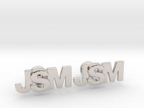 Monogram Cufflinks JSM in Platinum