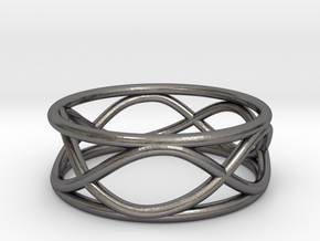 Infinity Ring- Size 5 in Polished Nickel Steel