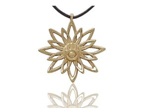 Blooming Hamsa Hand Flower Jewelry Pendant in Polished Brass