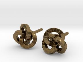 Trefoil Earrings in Polished Bronze