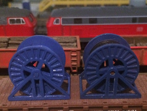 N Scale Steel Cable Reel (Empty) in Smooth Fine Detail Plastic