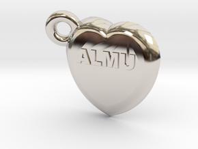 Second ligand heart ALMU in Rhodium Plated Brass