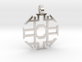 Eight Sided Pendant in Rhodium Plated Brass