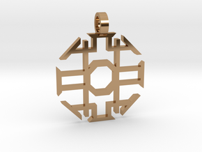 Eight Sided Pendant in Polished Brass