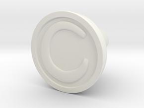 KnobC in White Natural Versatile Plastic