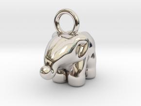 Elephant in Rhodium Plated Brass