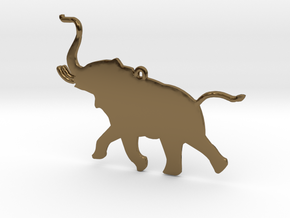 Trumpeting Elephant in Polished Bronze