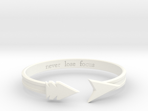 """Ashe """"never lose focus"""" Bracelet in White Processed Versatile Plastic: Medium"""