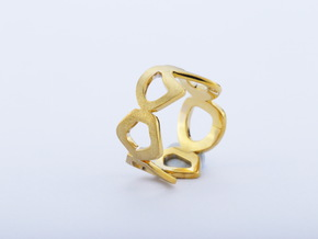 rocks ring in Polished Brass