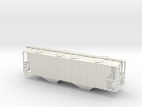 100ton Two Bay Covered Hopper WSF - Nscale in White Natural Versatile Plastic