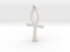 Ankh Pendant in White Natural Versatile Plastic