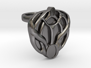 Mon Mothma's Brooch Ring - 20mm in Polished Nickel Steel