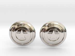 Captain America's Shield Cufflinks in Rhodium Plated Brass