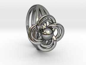 FlowerRing Size 60 in Fine Detail Polished Silver
