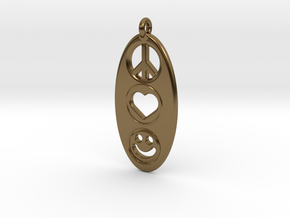 Peace Love Happiness in Polished Bronze