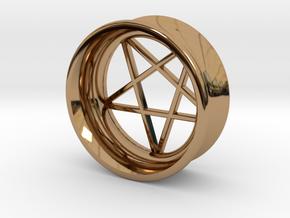Pentagram Ear Plug in Polished Brass