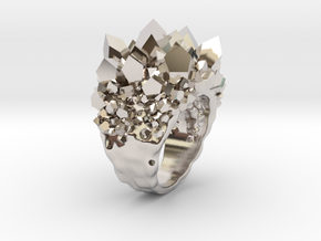 Double Crystal Ring Size 10 in Rhodium Plated Brass