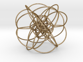 Rectified 24-Cell, Stereographic Projection in Polished Gold Steel