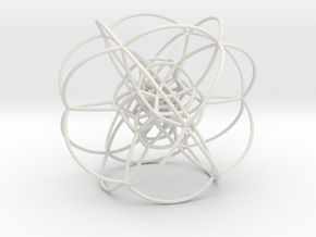 Rectified 24-Cell, Stereographic Projection in White Natural Versatile Plastic