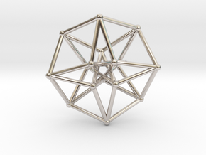 Toroidal Hypercube 50mm 2mm Time Traveller in Rhodium Plated Brass