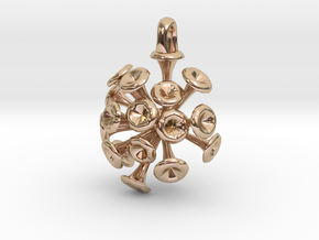 Discosphaera Coccolithophore pendant in 14k Rose Gold Plated Brass