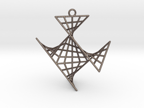 crux_pendant (medium) in Polished Bronzed Silver Steel
