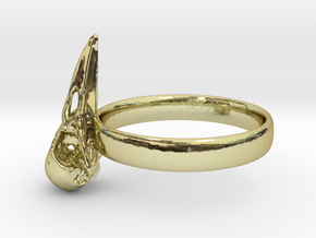 Crow Skull Ring 17mm - Size 7  in 18k Gold Plated Brass