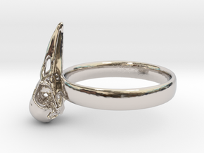 Crow Skull Ring 17mm - Size 7  in Platinum