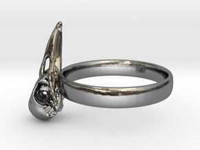 Crow Skull Ring 17mm - Size 7  in Fine Detail Polished Silver
