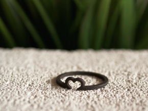 Heart Ring - Size Small  in Matte Black Steel