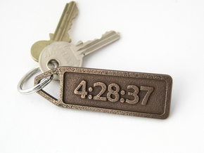 Customized Finish Time Keychain - Running Keychain in Polished Bronze Steel