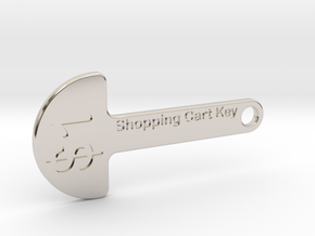 Loonie Shopping Cart Key in Rhodium Plated Brass