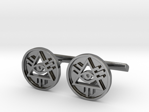 Illuminati Cufflinks in Fine Detail Polished Silver