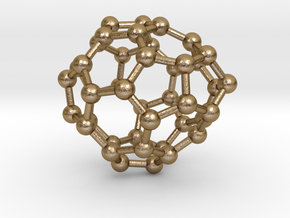 0253 Fullerene C42-32 c1 in Polished Gold Steel