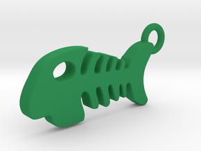 Fish Bone Pendant in Green Processed Versatile Plastic