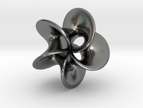 Geometric Pendant -  Mobius Flower in Polished Silver
