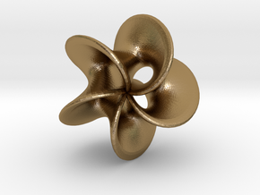 Geometric Pendant -  Mobius Flower in Polished Gold Steel