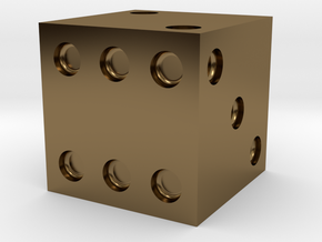 d6 Die (Traditional) in Polished Bronze