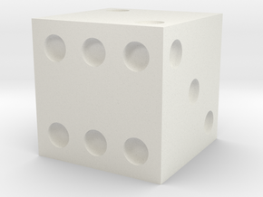 d6 Die (Traditional) in White Natural Versatile Plastic
